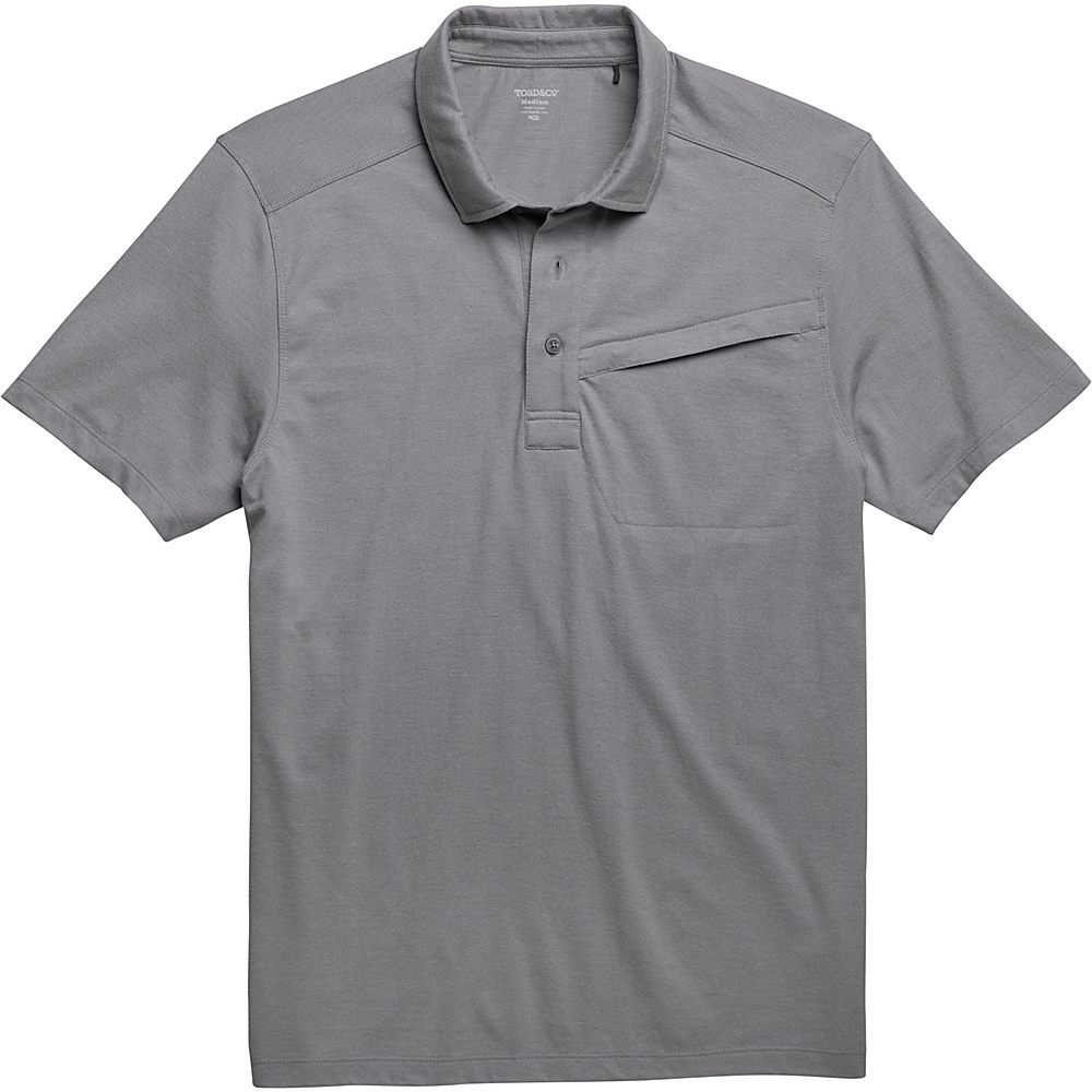 Toad & Co Motile Short Sleeve Polo L - Smoke - Toad & Co Mens Apparel - Apparel & Footwear, Men's Apparel