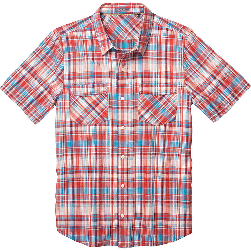 Toad & Co Coolant Short Sleeve Shirt L - Red Clay - Toad & Co Mens Apparel - Apparel & Footwear, Men's Apparel