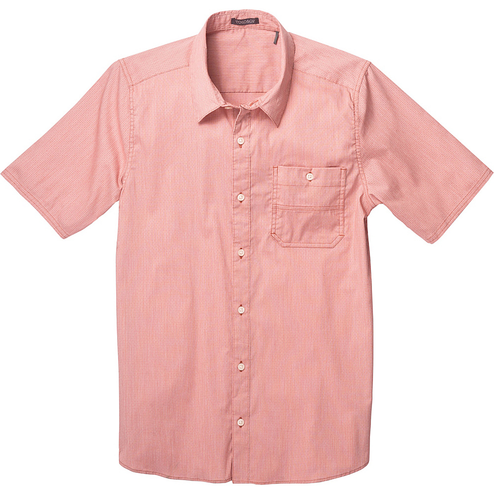 Toad & Co Panorama Chambray Short Sleeve Shirt S - Red Clay - Toad & Co Mens Apparel - Apparel & Footwear, Men's Apparel