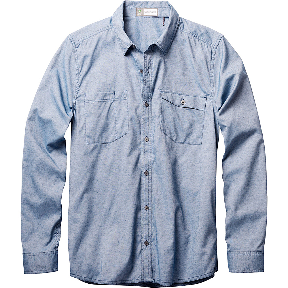 Toad & Co Debug Riverbound Long Sleeve Shirt L - Blue Abyss - Toad & Co Mens Apparel - Apparel & Footwear, Men's Apparel