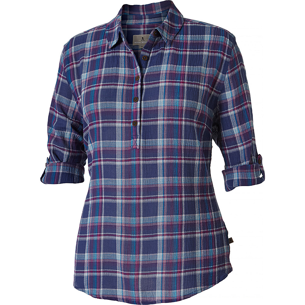 Royal Robbins Womens Oasis Plaid Popover XS - Blue Sea - Royal Robbins Womens Apparel - Apparel & Footwear, Women's Apparel