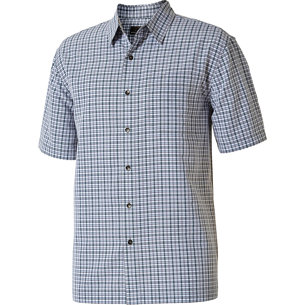 Royal Robbins Mens Mojave Pucker Plaid Short Sleeve Shirt L - Pewter - Royal Robbins Mens Apparel - Apparel & Footwear, Men's Apparel