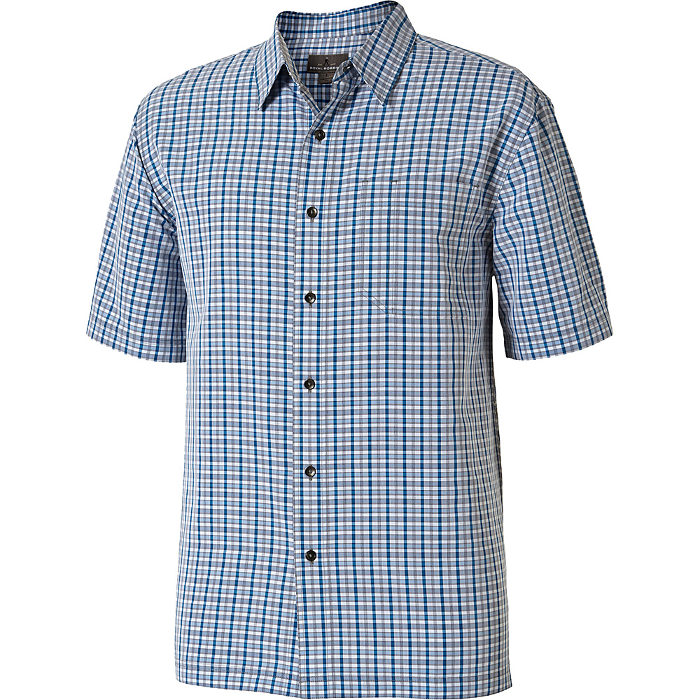 Royal Robbins Mens Mojave Pucker Plaid Short Sleeve Shirt S - Merlin Blue - Royal Robbins Mens Apparel - Apparel & Footwear, Men's Apparel