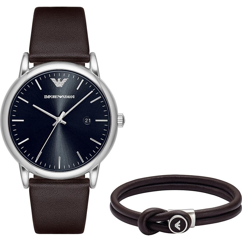 Emporio Armani Dress Watch and Bracelet Gift Set Brown - Emporio Armani Watches