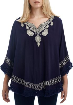 Lava Accessories Embroidered Paisley Poncho Navy - Lava Accessories Women's Apparel