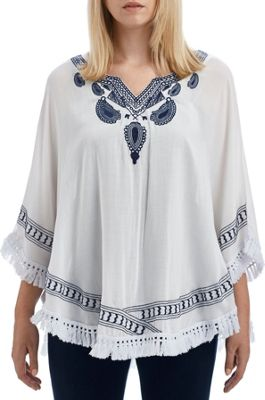 Lava Accessories Embroidered Paisley Poncho White - Lava Accessories Women's Apparel