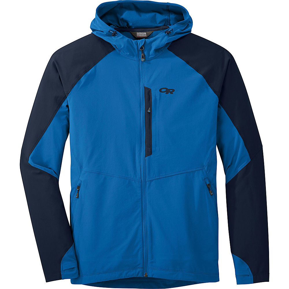 Outdoor Research Mens Ferrosi Hooded Jacket L - Glacier/Night - Outdoor Research Mens Apparel - Apparel & Footwear, Men's Apparel