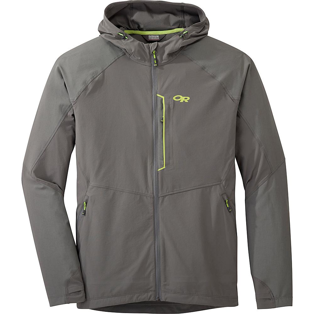 Outdoor Research Mens Ferrosi Hooded Jacket XL - Pewter/Lemongrass - Outdoor Research Mens Apparel - Apparel & Footwear, Men's Apparel