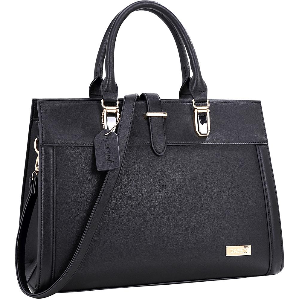 Dasein Faux Leather Work Satchel Black - Dasein Manmade Handbags - Handbags, Manmade Handbags