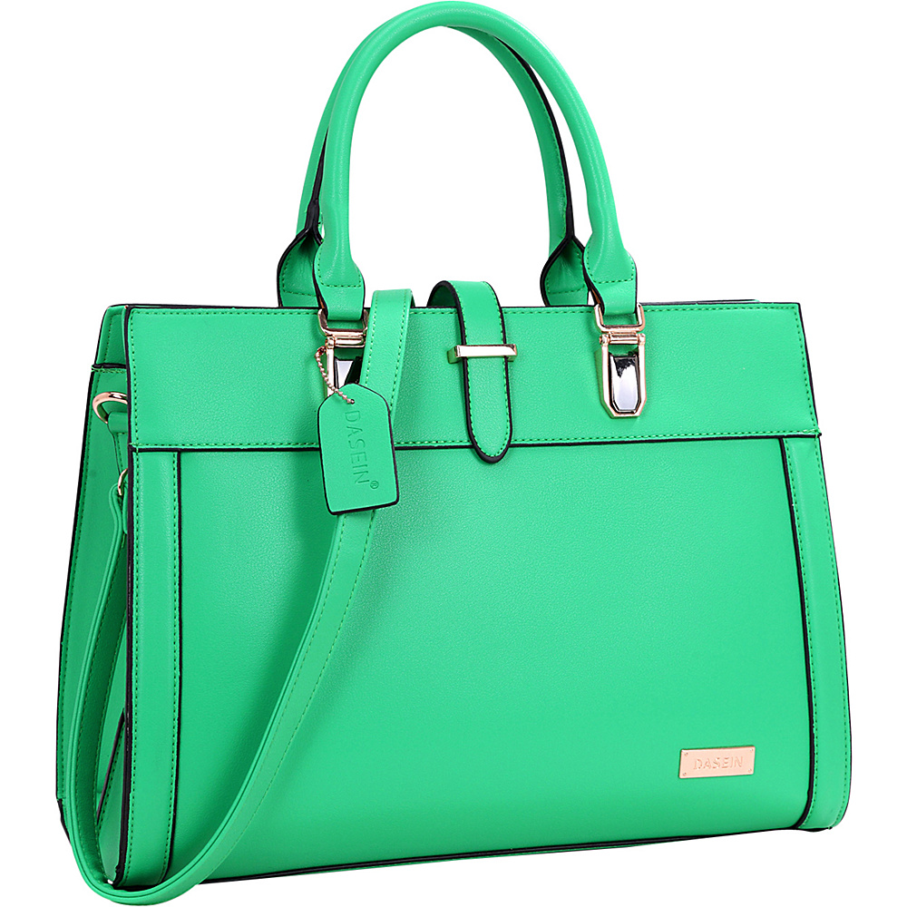 Dasein Faux Leather Work Satchel Green - Dasein Manmade Handbags - Handbags, Manmade Handbags