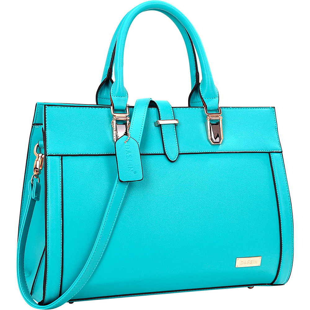 Dasein Faux Leather Work Satchel Blue - Dasein Manmade Handbags - Handbags, Manmade Handbags