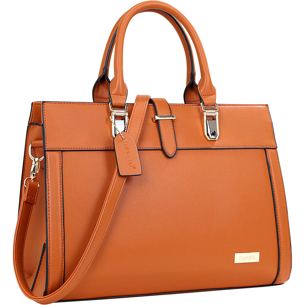 Dasein Faux Leather Work Satchel Brown - Dasein Manmade Handbags - Handbags, Manmade Handbags
