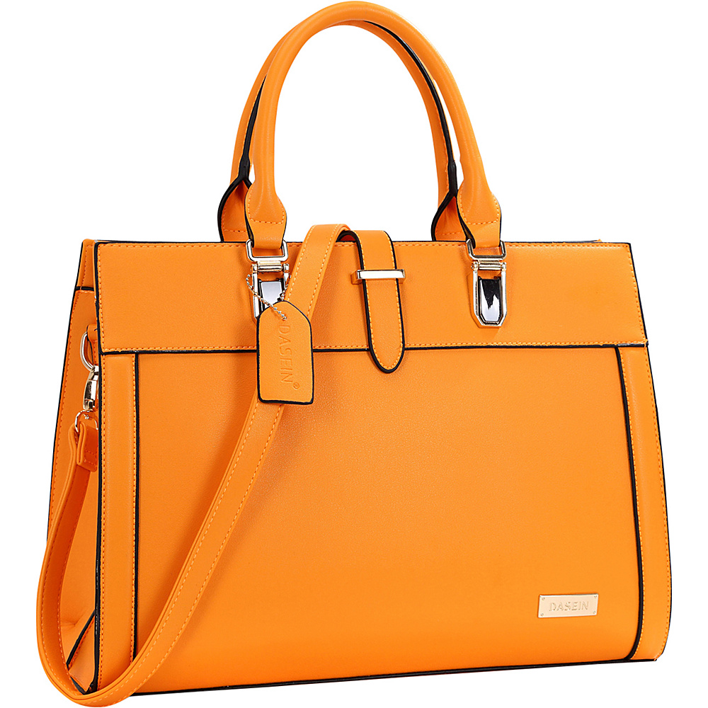 Dasein Faux Leather Work Satchel Orange - Dasein Manmade Handbags - Handbags, Manmade Handbags