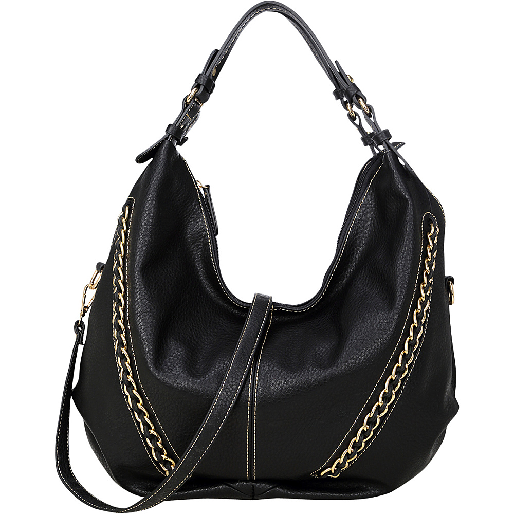 Dasein Faux Leather Hobo Bag Black - Dasein Manmade Handbags - Handbags, Manmade Handbags