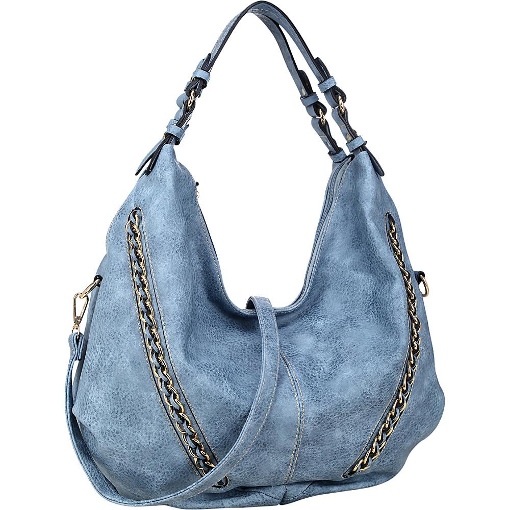 Dasein Faux Leather Hobo Bag Blue - Dasein Manmade Handbags - Handbags, Manmade Handbags