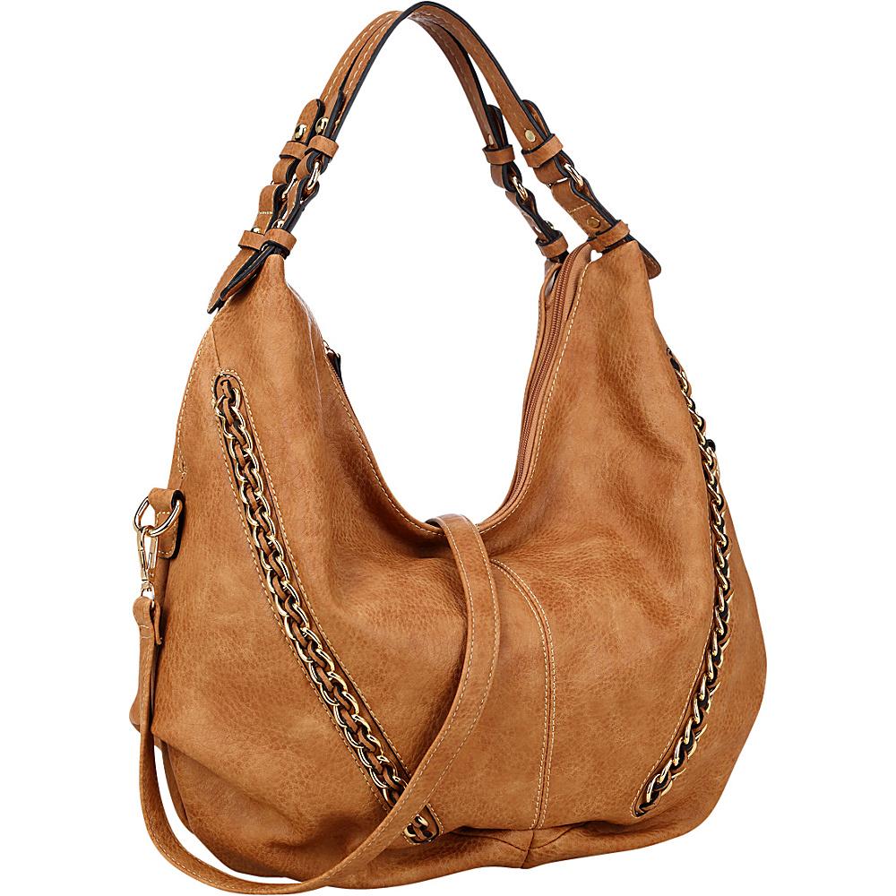 Dasein Faux Leather Hobo Bag Brown - Dasein Manmade Handbags - Handbags, Manmade Handbags
