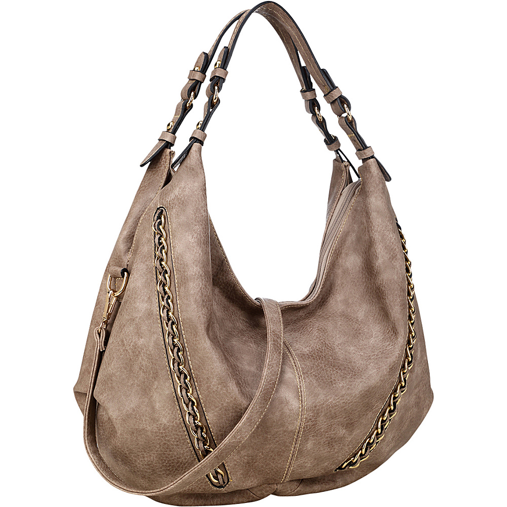Dasein Faux Leather Hobo Bag Stone - Dasein Manmade Handbags - Handbags, Manmade Handbags