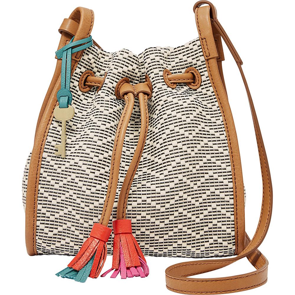 Fossil Claire Small Drawstring Crossbody Neutral Stripe - Fossil Fabric Handbags - Handbags, Fabric Handbags