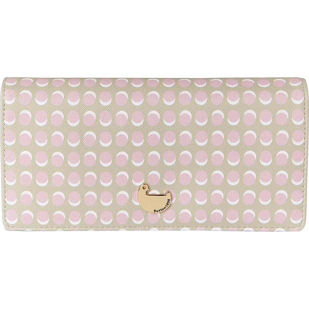 Buxton Dotty Dots Expandable Clutch Peach Skin - Buxton Womens Wallets - Women's SLG, Women's Wallets