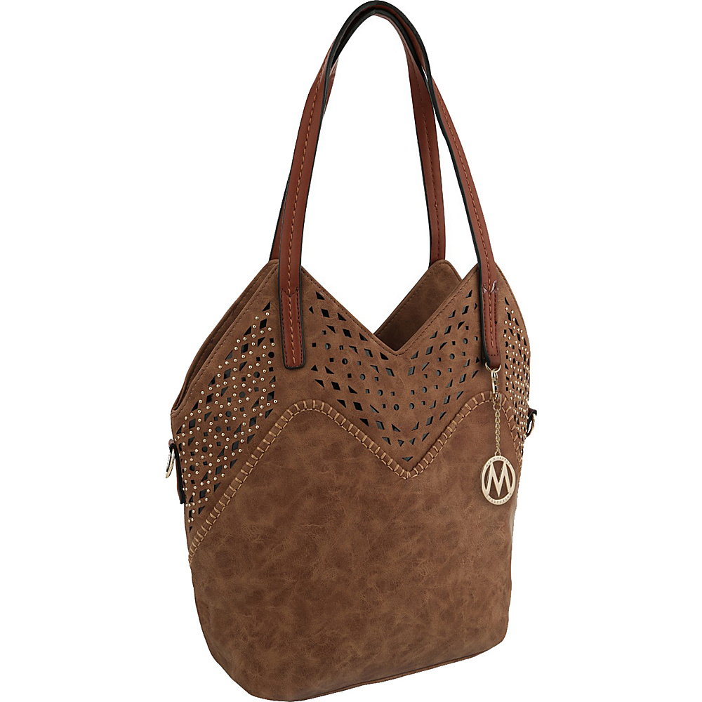 MKF Collection by Mia K. Farrow V Tote Brown - MKF Collection by Mia K. Farrow Manmade Handbags - Handbags, Manmade Handbags