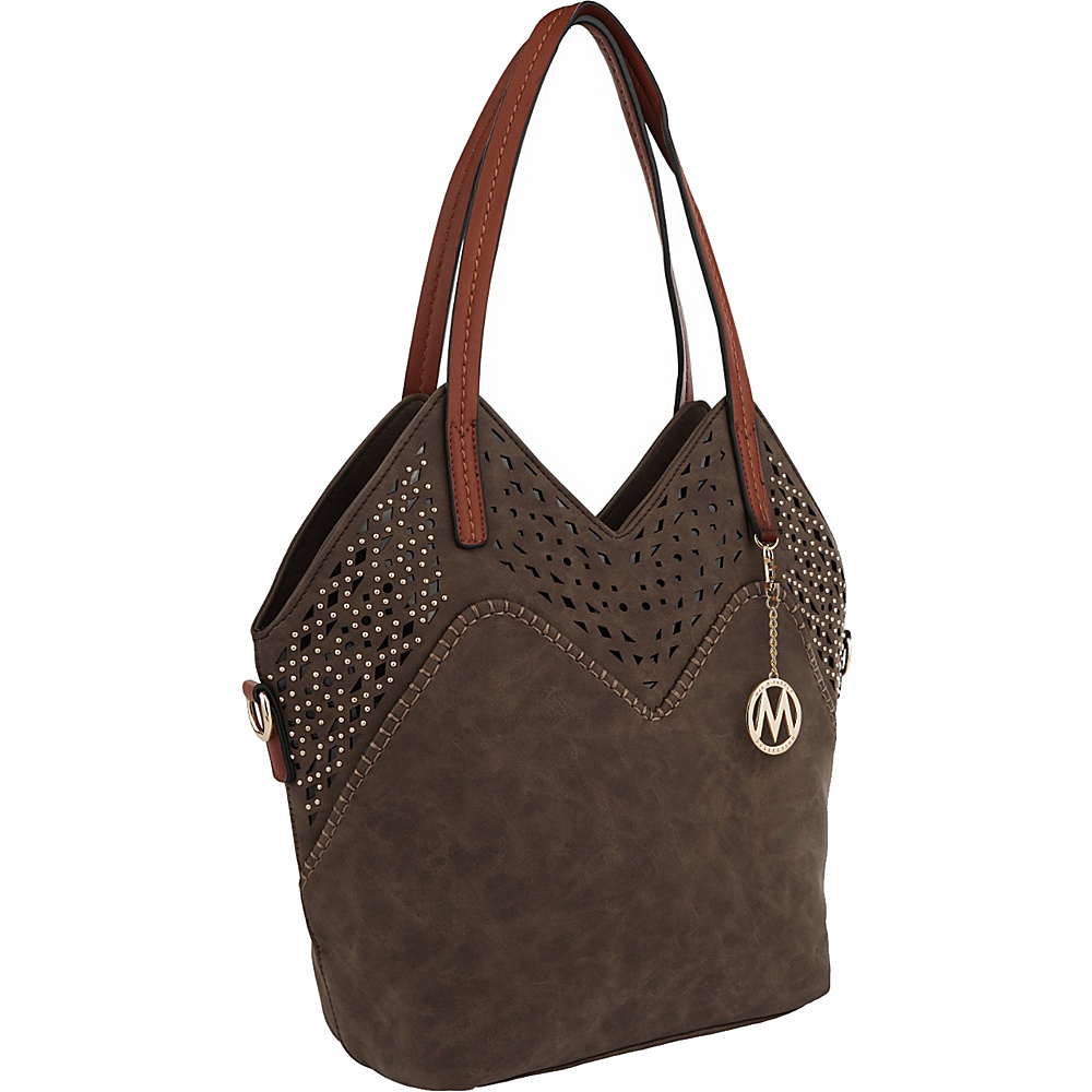 MKF Collection by Mia K. Farrow V Tote Coffee - MKF Collection by Mia K. Farrow Manmade Handbags - Handbags, Manmade Handbags