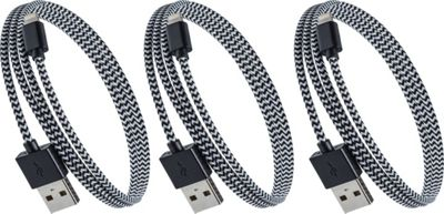 PURTECH Apple MFI Certified Lightning Cable 10 Feet Tough-Braided Extra-Strong Jacket - Sync/Charge - 3PK Black / White - PURTECH Electronic Accessories