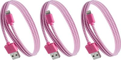 PURTECH Apple MFI Certified Lightning Cable 10 Feet Tough-Braided Extra-Strong Jacket - Sync/Charge - 3PK Pink / White - PURTECH Electronic Accessories
