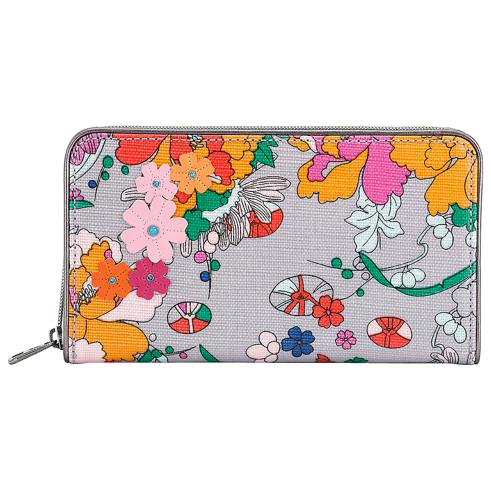 Sakroots Artist Circle Large Zip Around Wallet Lilac Flower Power - Sakroots Womens Wallets - Women's SLG, Women's Wallets