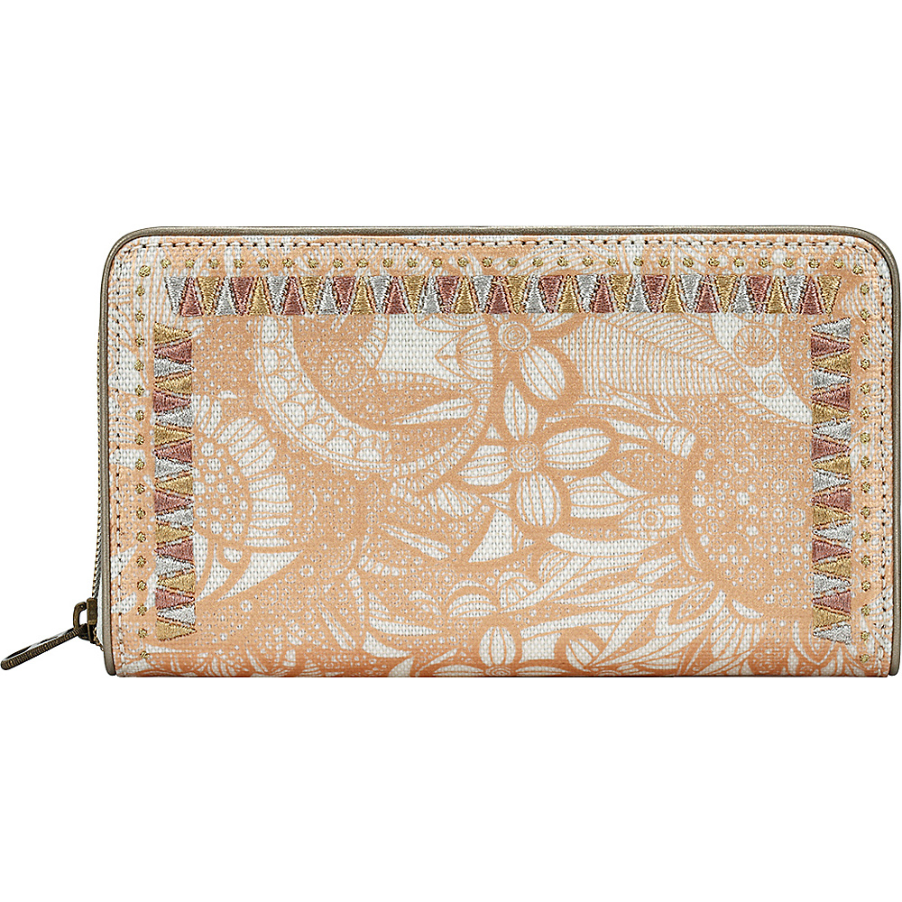 Sakroots Artist Circle Large Zip Around Wallet Rose Gold Spirit Desert - Sakroots Womens Wallets - Women's SLG, Women's Wallets
