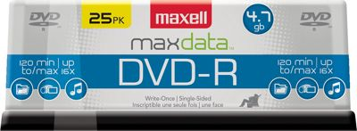Maxell DVD-R 4.7GB Write-Once, 16x Recordable Disc (Spindle Pack of 25) Clear - Maxell Electronic Accessories 10571140