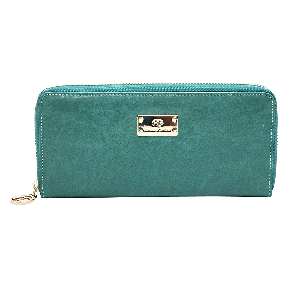 Dasein Womens Zip-Around Wallet with Gold Kissed Accents Light Green - Dasein Womens Wallets - Women's SLG, Women's Wallets