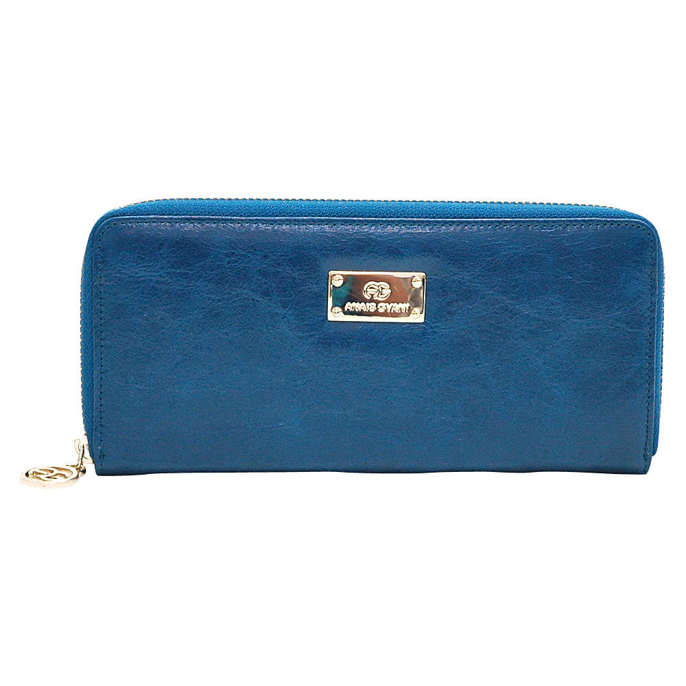 Dasein Womens Zip-Around Wallet with Gold Kissed Accents Navy Blue - Dasein Womens Wallets - Women's SLG, Women's Wallets