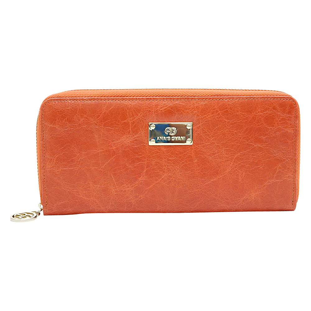 Dasein Womens Zip-Around Wallet with Gold Kissed Accents Orange - Dasein Womens Wallets - Women's SLG, Women's Wallets