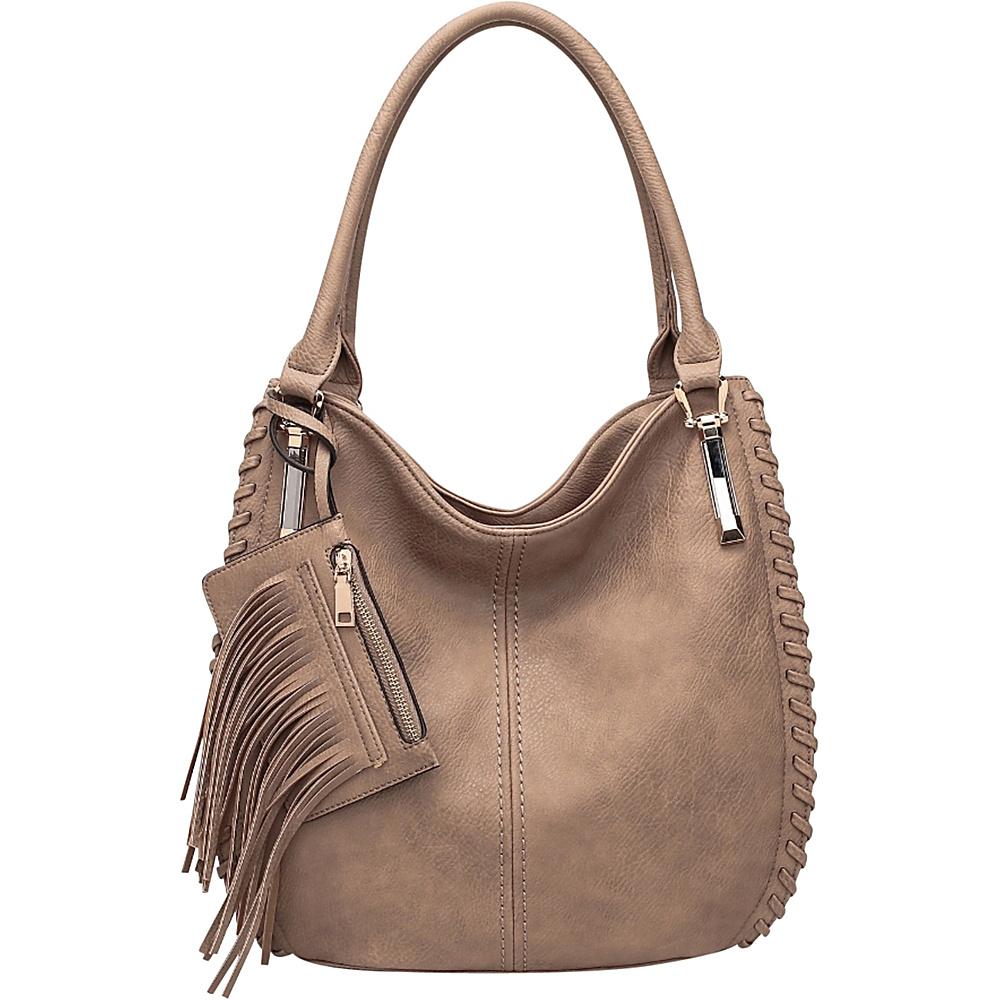MKF Collection Fringe Frenzy Hobo Khaki - MKF Collection Manmade Handbags - Handbags, Manmade Handbags