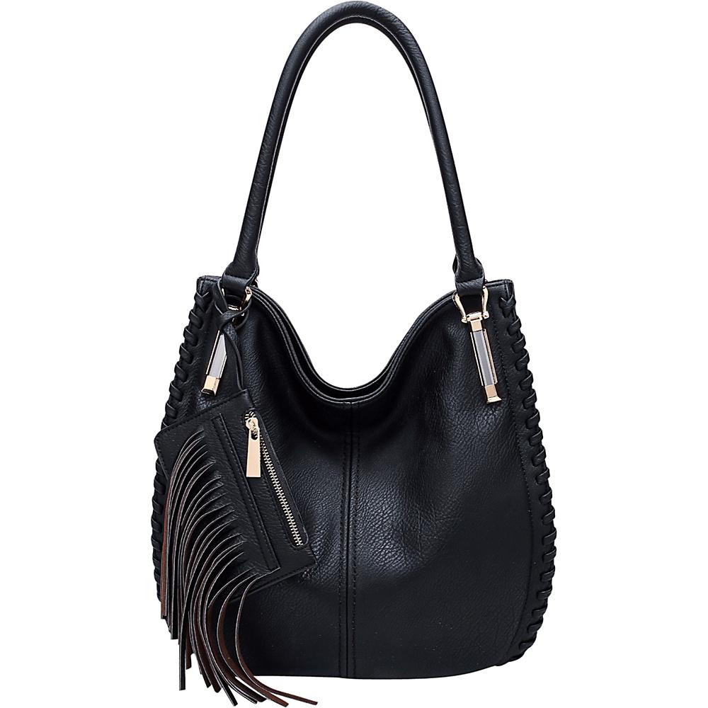 MKF Collection Fringe Frenzy Hobo Black - MKF Collection Manmade Handbags - Handbags, Manmade Handbags