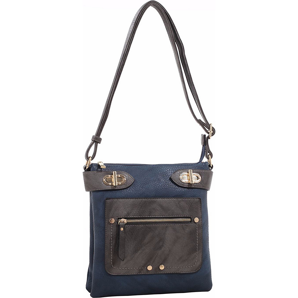 MKF Collection by Mia K. Farrow Laura Color Block Crossbody Dark Blue - MKF Collection by Mia K. Farrow Manmade Handbags - Handbags, Manmade Handbags