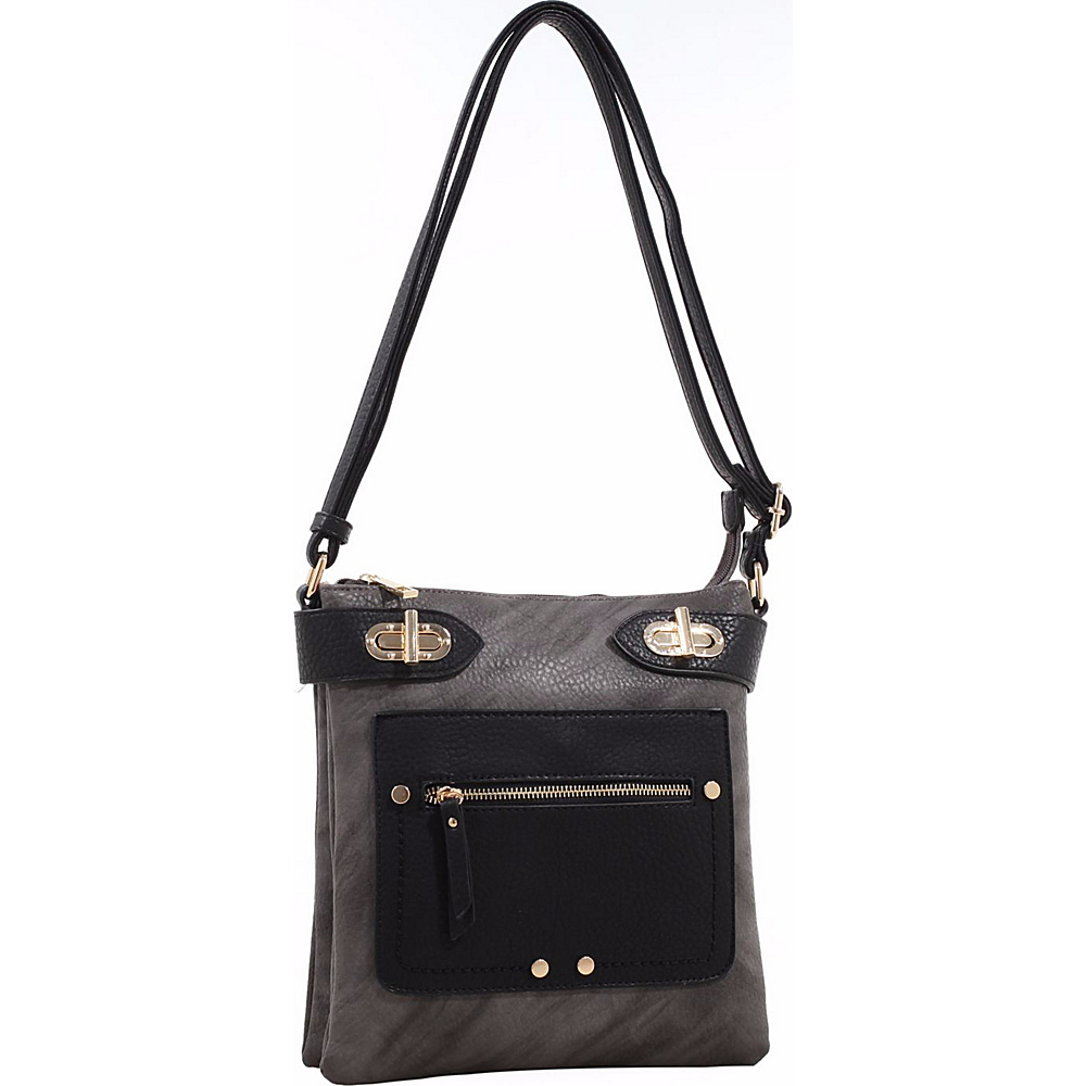 MKF Collection by Mia K. Farrow Laura Color Block Crossbody Dark Grey - MKF Collection by Mia K. Farrow Manmade Handbags - Handbags, Manmade Handbags