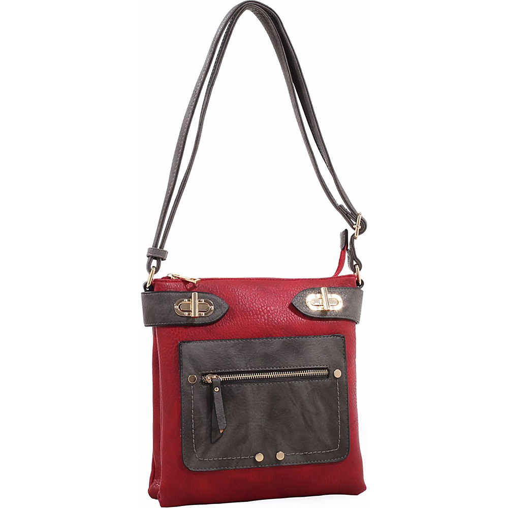 MKF Collection by Mia K. Farrow Laura Color Block Crossbody Red - MKF Collection by Mia K. Farrow Manmade Handbags - Handbags, Manmade Handbags