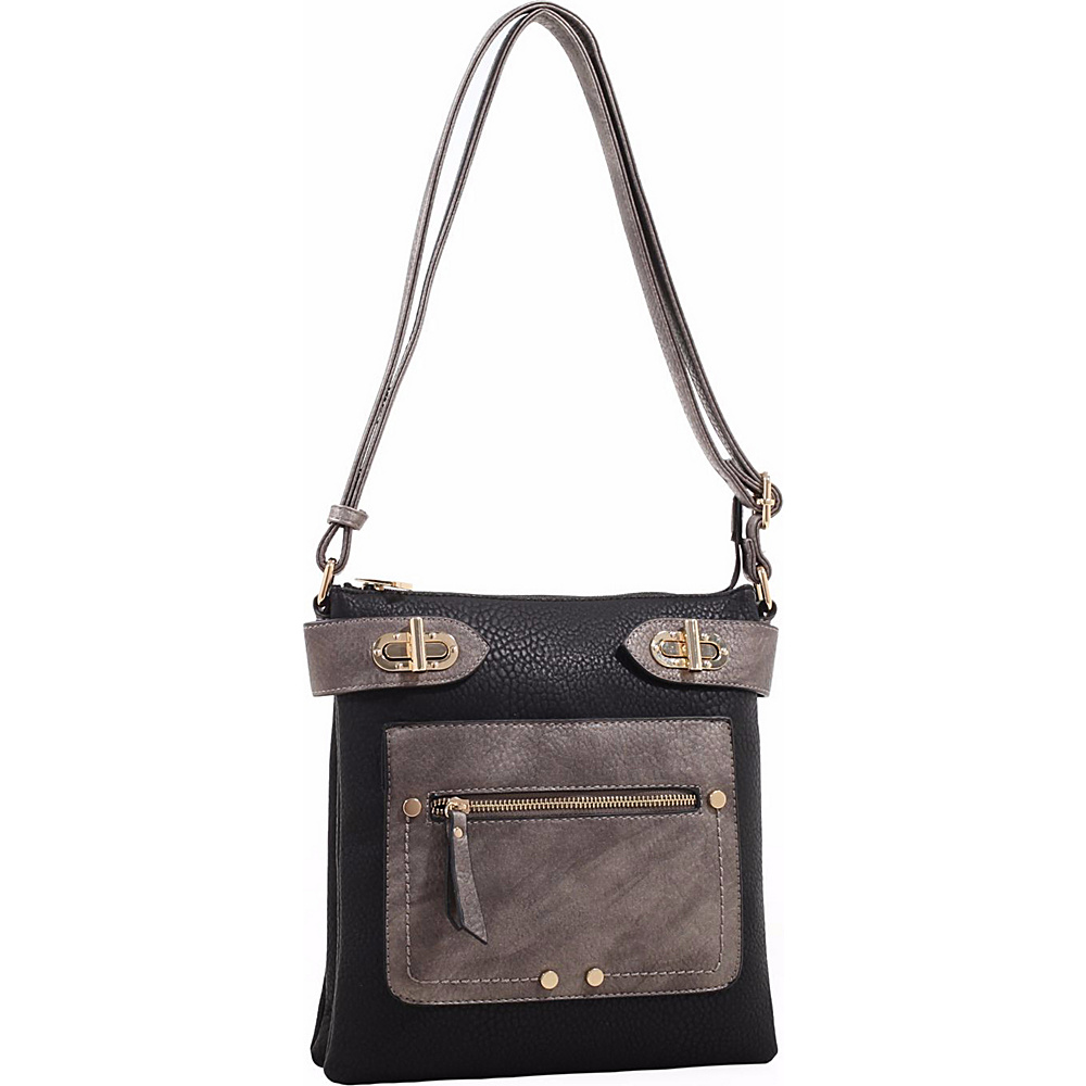 MKF Collection by Mia K. Farrow Laura Color Block Crossbody Black - MKF Collection by Mia K. Farrow Manmade Handbags - Handbags, Manmade Handbags