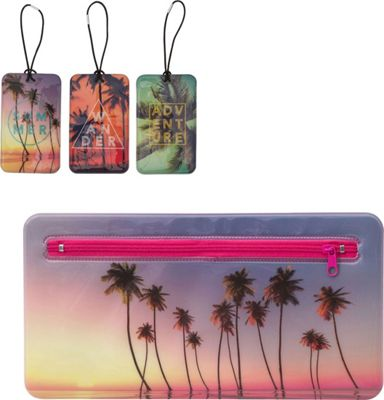 MyTagAlongs Endless Summer Travel Essentials - 3 Luggage Tags and Travel Pouch Wander - MyTagAlongs Luggage Accessories