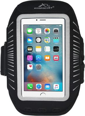 Armpocket Racer Plus Slim No-Slip Armband for Devices up to 6.3 inch - Large Strap Length Black/Silver - Armpocket Electronic Cases