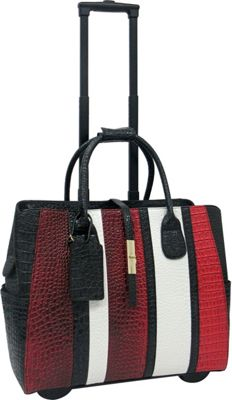 Cabrelli Cabrelli Caroline Rolling Briefcase Black/Red/White - Cabrelli Wheeled Business Cases