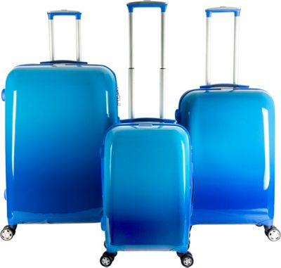 Gabbiano Industrial Chic 3 Piece Expandable Hardside Spinner Luggage Set Gradient Blue - Gabbiano Luggage Sets