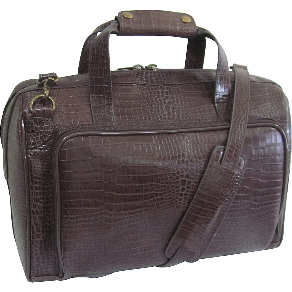 AmeriLeather Croco-Print 16 Leather Carry-On Weekend Duffel Dark Brown Croco-Print - AmeriLeather Travel Duffels - Duffels, Travel Duffels