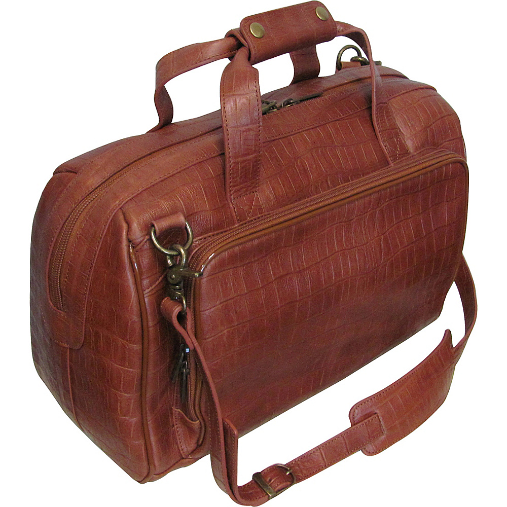 AmeriLeather Croco-Print 16 Leather Carry-On Weekend Duffel Brown Croco-Print - AmeriLeather Travel Duffels - Duffels, Travel Duffels
