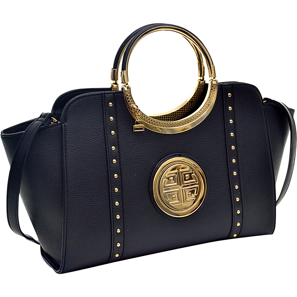 Dasein Studded Winged Emblem Satchel with Removable Shoulder Strap Black - Dasein Gym Bags - Sports, Gym Bags