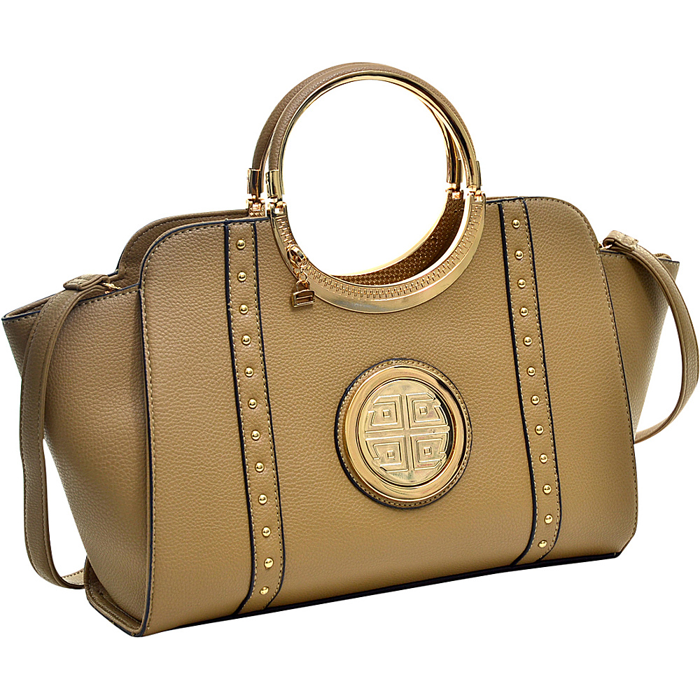 Dasein Studded Winged Emblem Satchel with Removable Shoulder Strap Sand - Dasein Gym Bags - Sports, Gym Bags