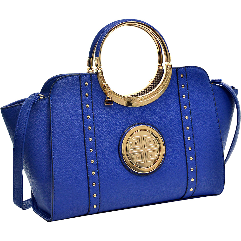 Dasein Studded Winged Emblem Satchel with Removable Shoulder Strap Royal Blue - Dasein Gym Bags - Sports, Gym Bags