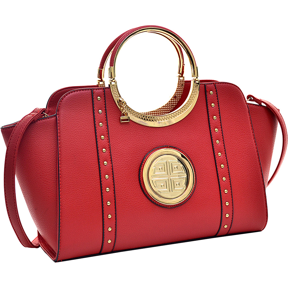Dasein Studded Winged Emblem Satchel with Removable Shoulder Strap Red - Dasein Gym Bags - Sports, Gym Bags