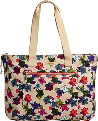 Vera Bradley Lighten Up Expandable Tote Falling Flowers Neutral - Vera Bradley Fabric Handbags